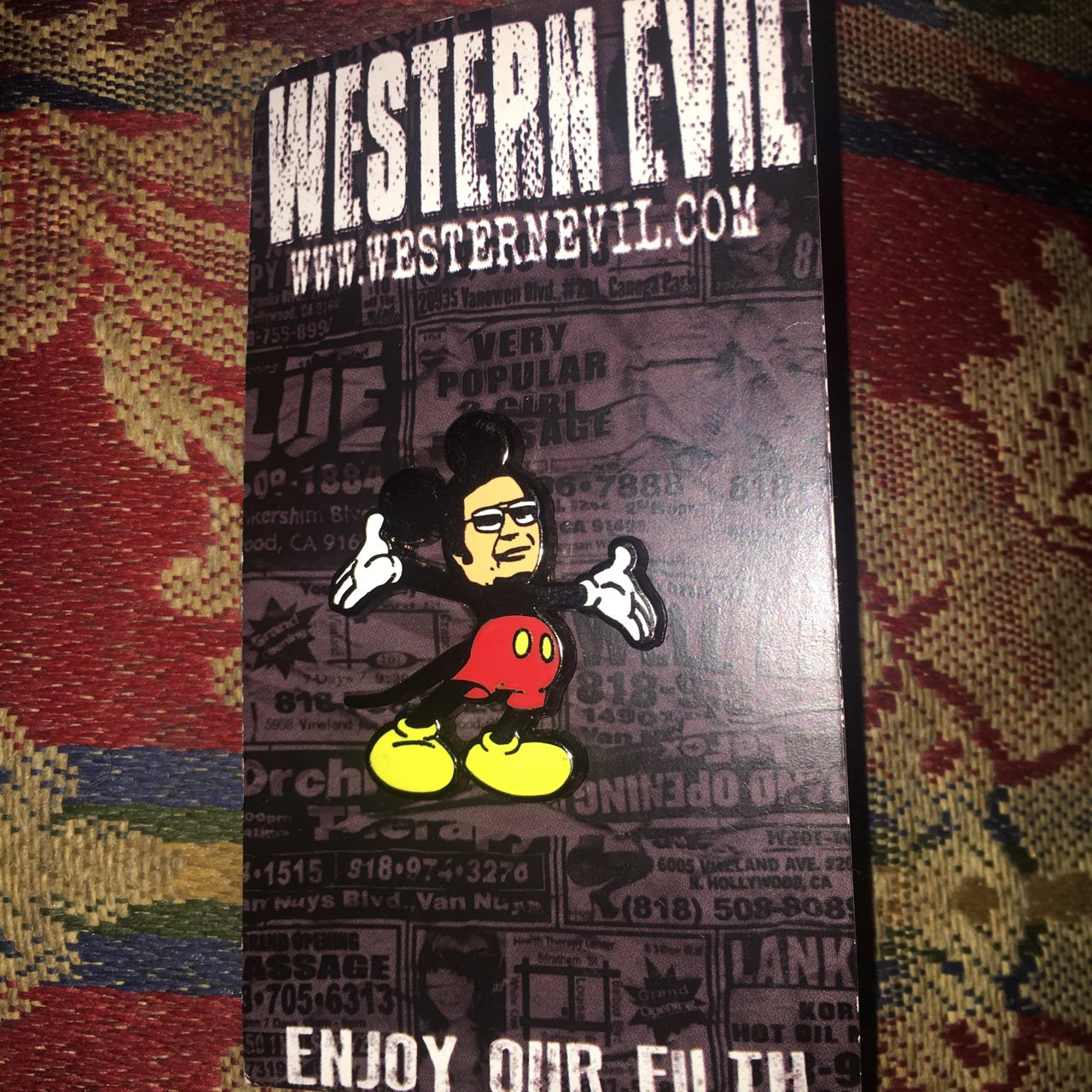 Jim Jones as Mickey Mouse Enamel Pin From Western Evil used - Depop f2262e68445e