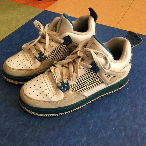 acb7d90efcaf99 Idk what shoes these are they are jordan 4 af1 Sorry to lazy - Depop