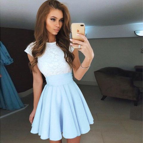 b9f8f79f6c39  hotbuys. 2 years ago. United States. Cute White Lace Patchwork Sky Blue  Summer Dress ...