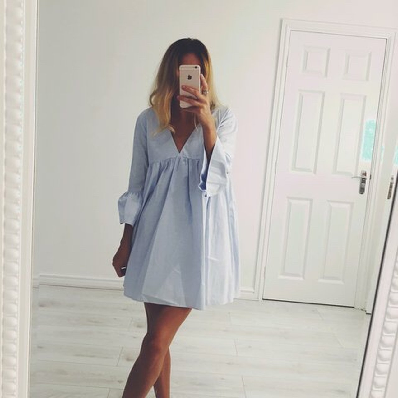 d6167b4c2ae Zara blue playsuit dress - sold out not available online and - Depop