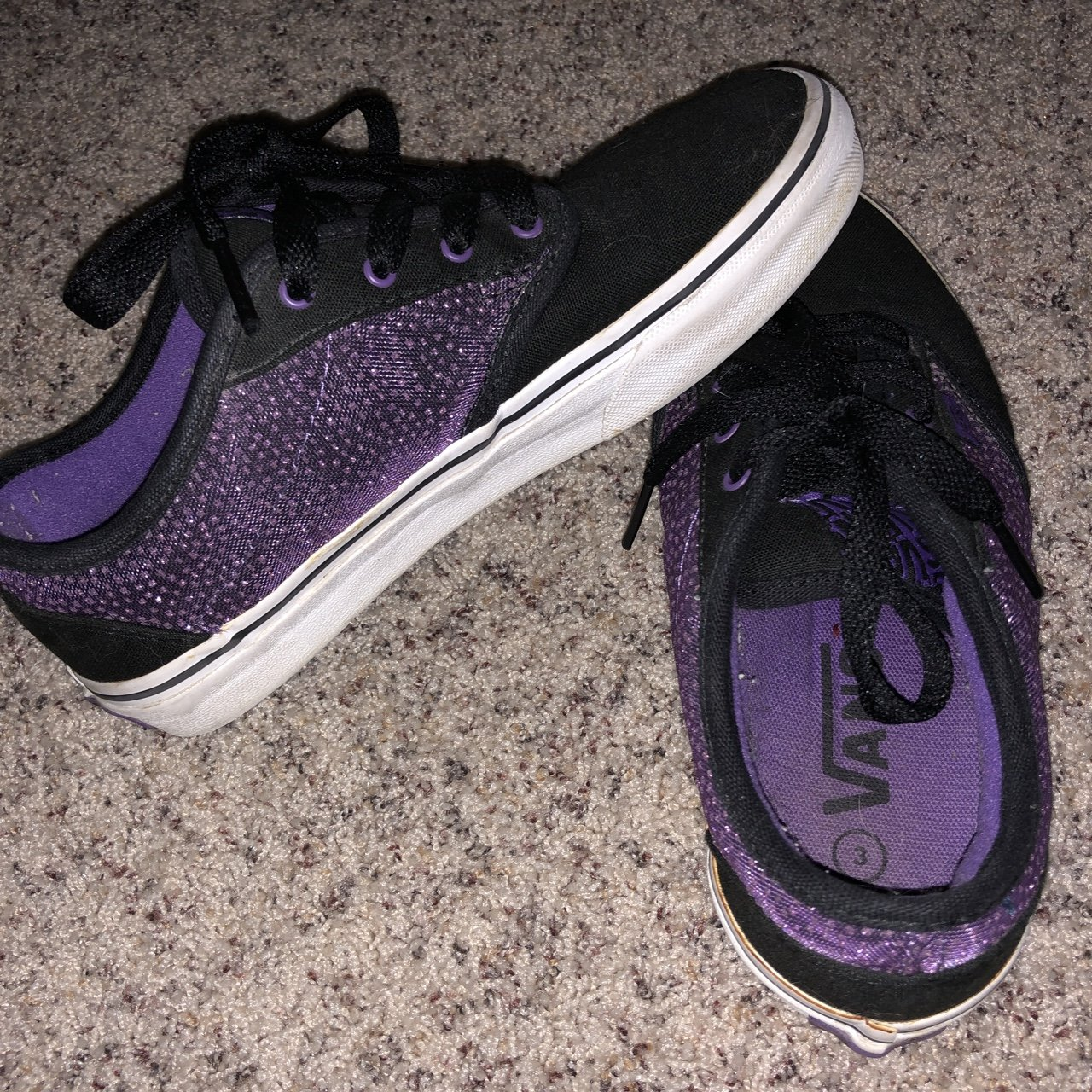 513ab7980c8f Black and purple sparkly vans. size 3 youth size 5 women s. - Depop