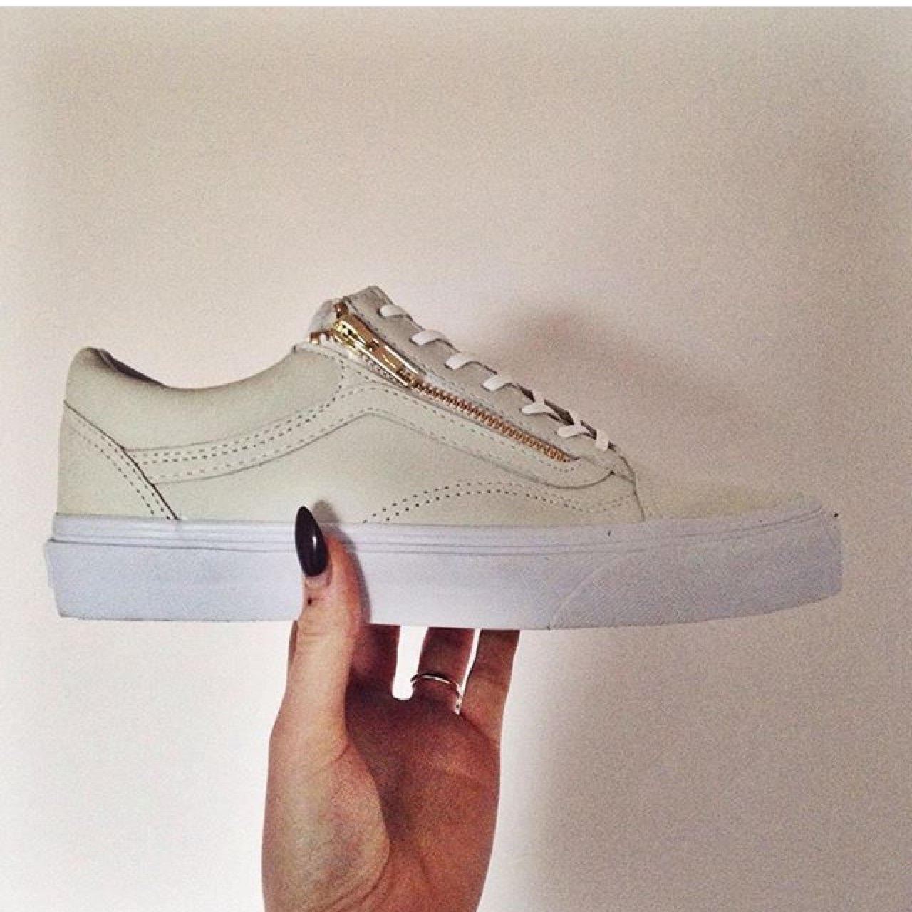 40173a22093afa Vans old skool zip in off white leather uk 5. Could also fit - Depop