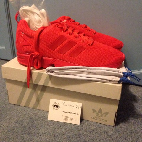 3f958097448aa ... ireland adidas zx flux all red brand new with box dust bag and depop  b49f2 cd745