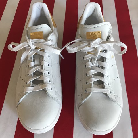 eb6ac85676f Worn once Stan Smith 999 Adidas sneakers in white and gold - Depop