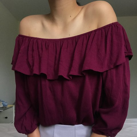 c17e032c6c108 NWT burgundy off the shoulder top! - brand  ambiance - so 21 - Depop