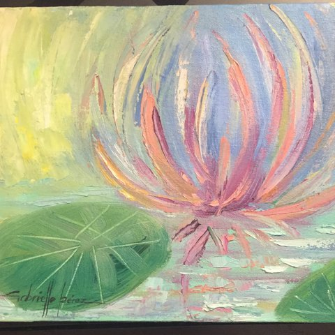 Lotus Flower Oil Painting By Artist Gabrielle Perez Titled X Depop