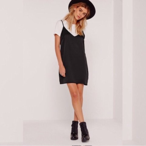 cd6637aca23f9 DREW Black Silky Slip Dress With TShirt M NWT Fits up to a - Depop