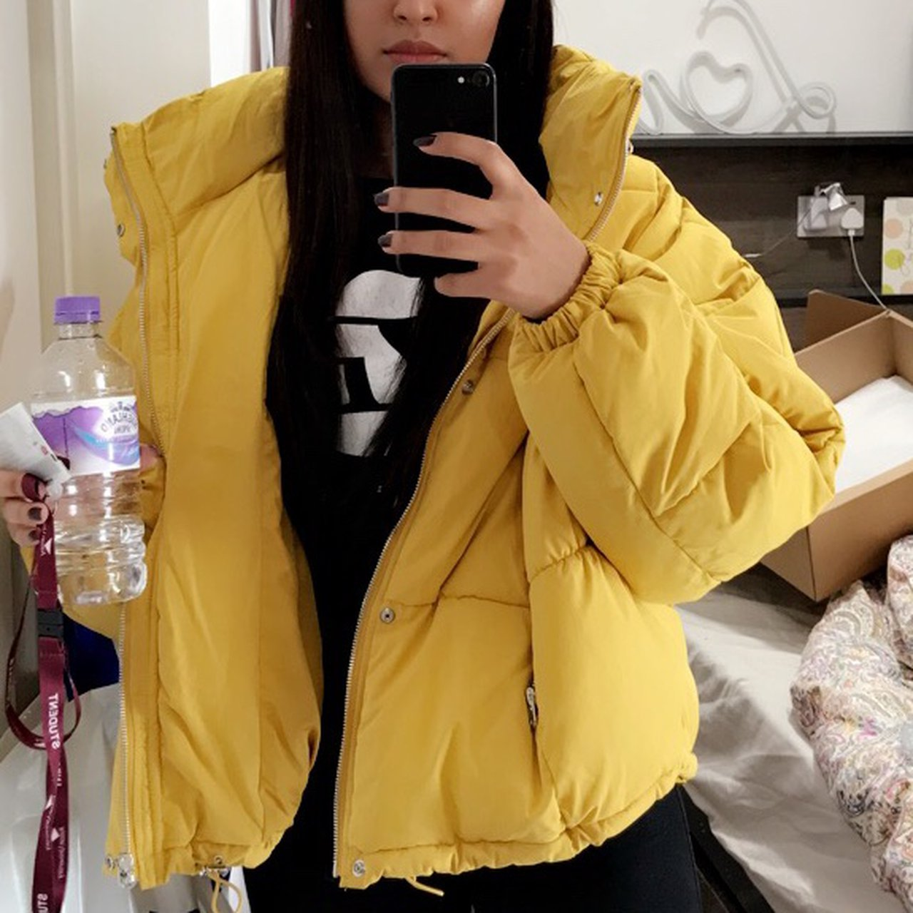 a3359a38 *free P&P* Zara TRF yellow puffer jacket In perfect only - Depop