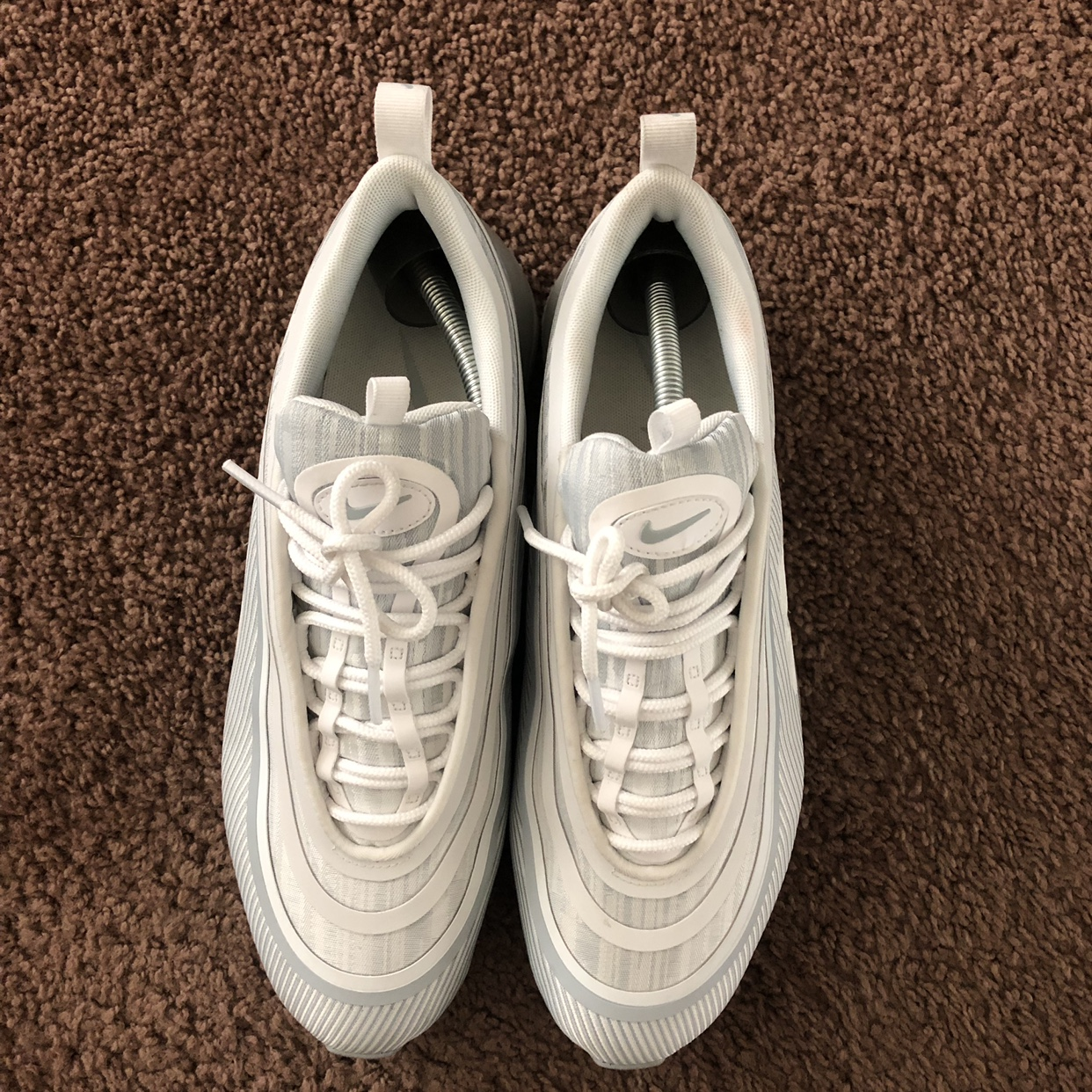 Nike air max 97 platinum Worn twice, not for a long Depop