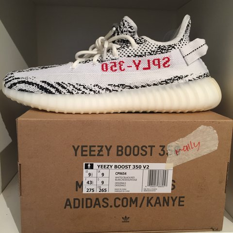 6052046cc  mallymrc. 2 years ago. United Kingdom. Adidas Yeezy boost 350 v2 brand new  uk 9 zebra Kanye west