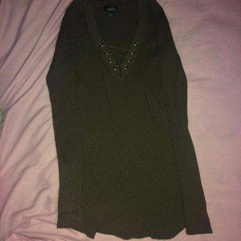 blushpeonies. 11 months ago. United States. rue21 Navy Green v neck lace  up ribbed long sleeve top. 4db243186