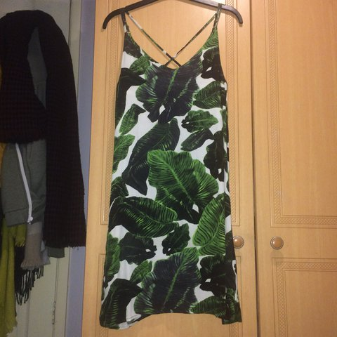fc530dfd57d6 @lace. 2 years ago. Wath upon Dearne, United Kingdom. Topshop palm leaf  slip dress with cross back ...