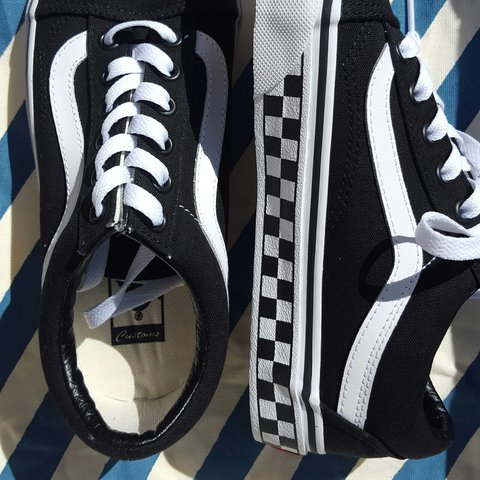 7acc6c9dfa2 ... more photos 5d94f bd433 Custom-made old skool Vans. Black with checkered  foxing. ...