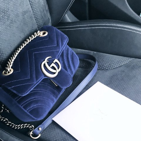 e2827a74b @emzhawke. last year. London, United Kingdom. Velvet Gucci mini Marmont in  colbat blue ...