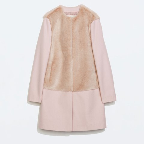 d2bae315a Zara pale pink fur wool coat
