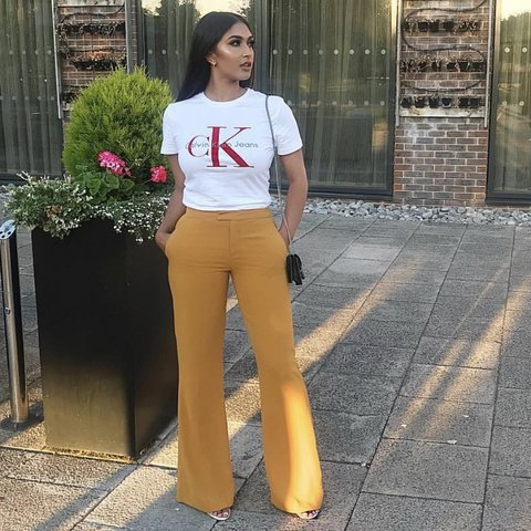 stylebay. 6 months ago. United Kingdom. Zara mustard flare flowing Trousers  ... 2c7ce593bf81