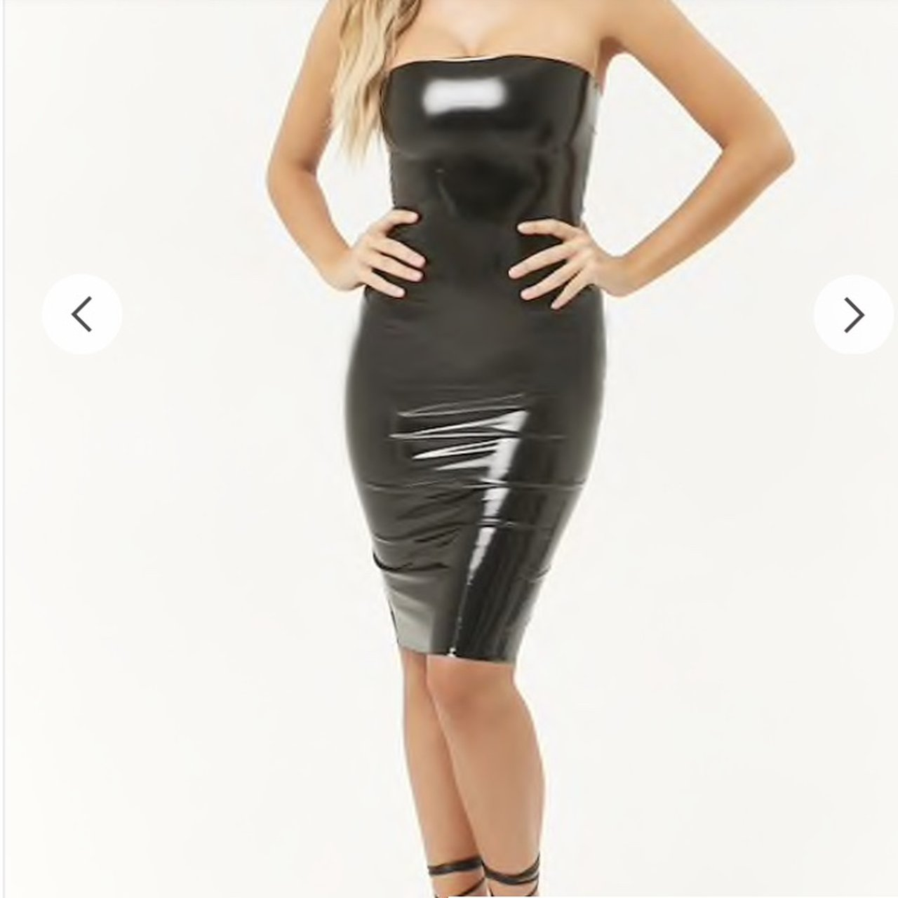 39f67ca2253 Never worn faux leather   Latex tube top dress. Couldn t it - Depop