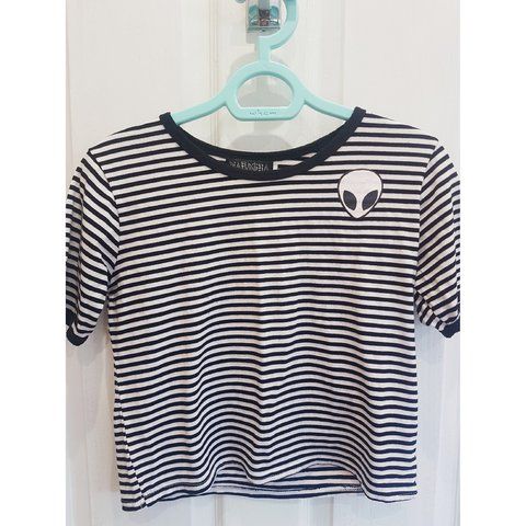 cab96d6da0d ACCEPTING OFFERS* Cropped black + white striped tee with S - Depop