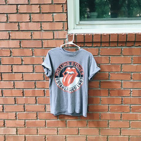 Grey old navy Rolling Stones rocker shirt from the totally a - Depop bff5bb1b8