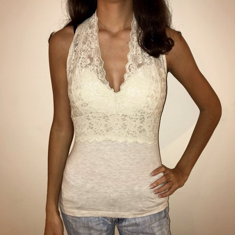 fab18acef87aea off white lace padded bralette tank top this top can be by - Depop