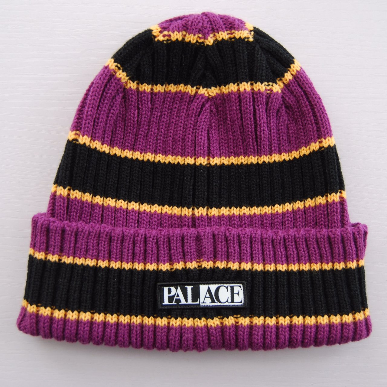 Purple Yellow Palace Striped Beanie Hat- 0 7c61ee19580