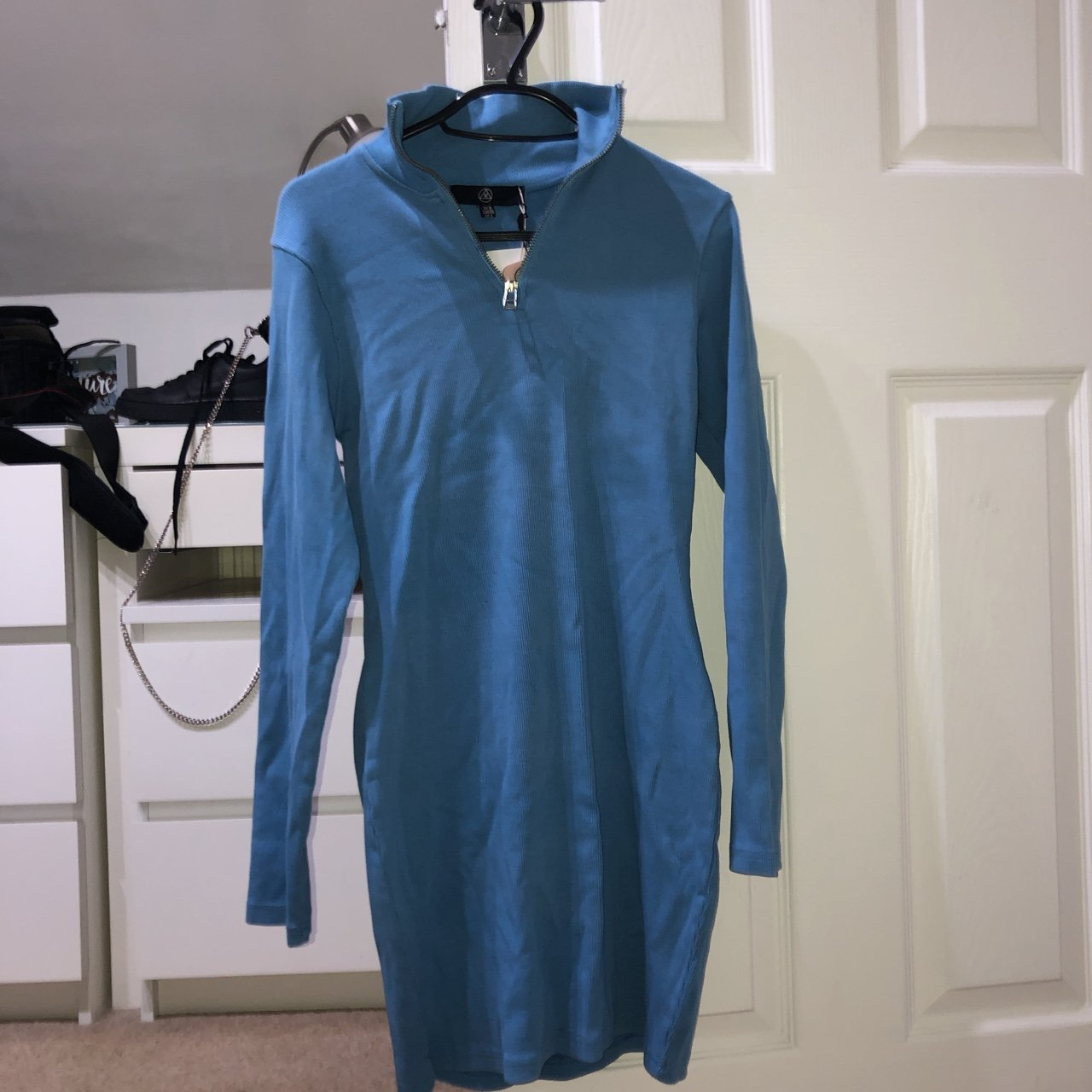 4ef7700f4e9799 MISSGUIDED Light blue ribbed bodycon