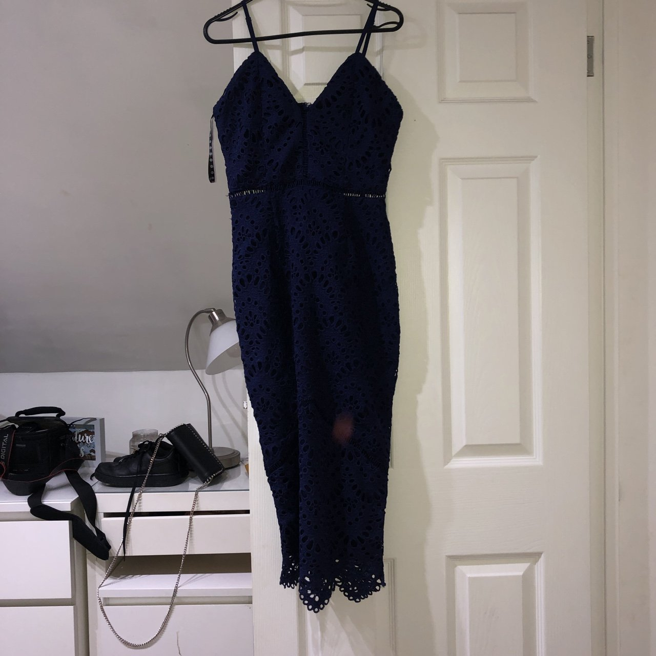 1625e9af48a7e8 Misguided eyelet navy long dress🐻