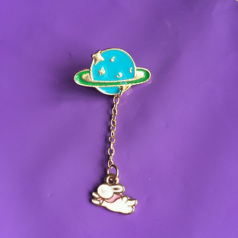 8cf1b86acb4 Cute enamel pin badge with a planet and bunny on a chain pin - Depop