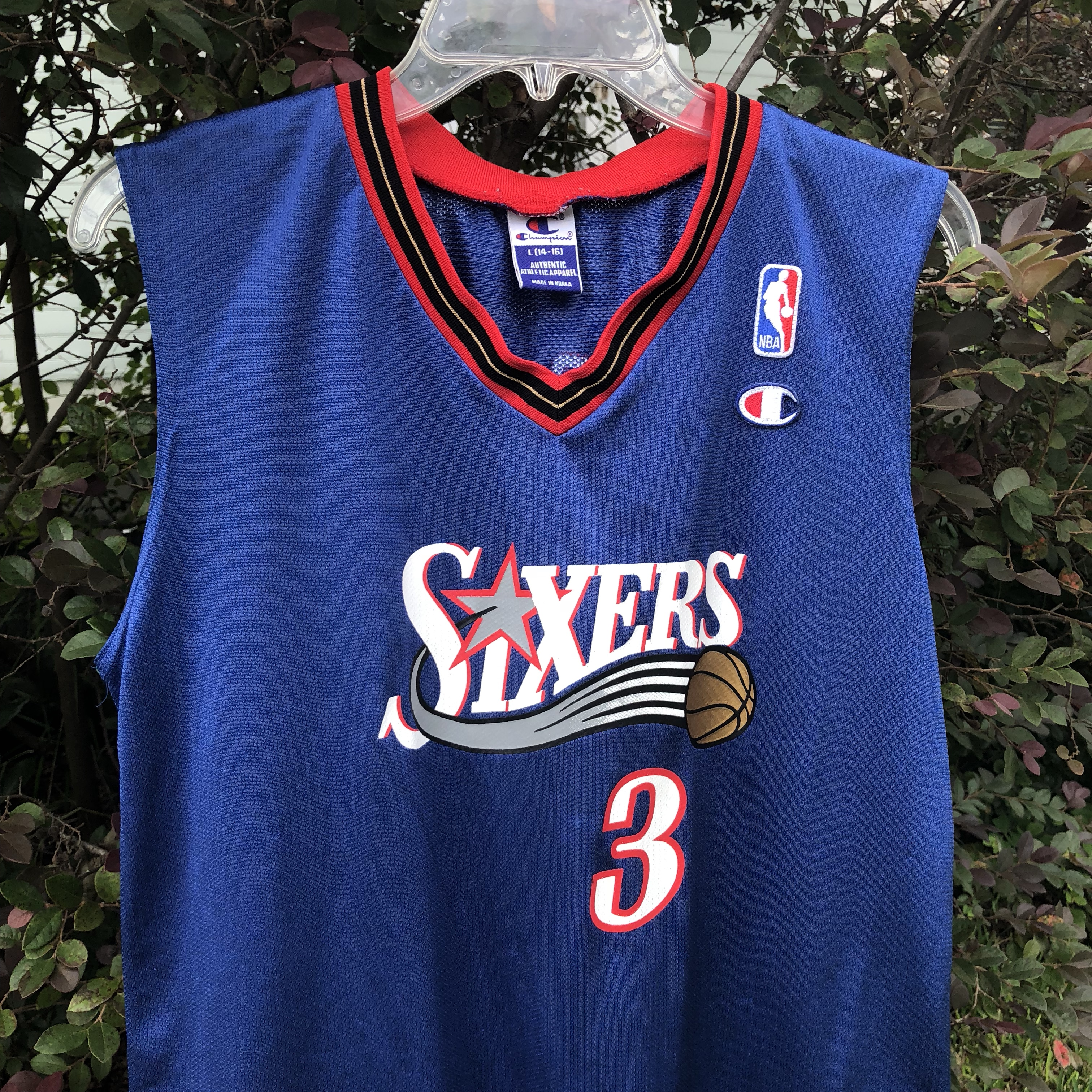 new style 616bd d37ce Vintage Champion Sixers Allen Iverson Jersey youth... - Depop
