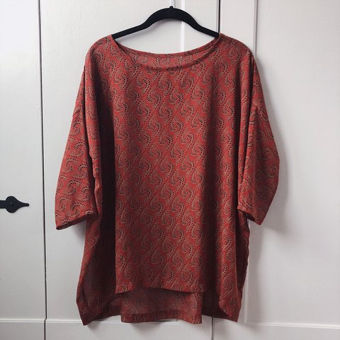 4674204a480 @jellybeanqueen. 3 months ago. Boulder, United States. Rust colored 3/4  sleeve red earth tone sheer tunic top ...
