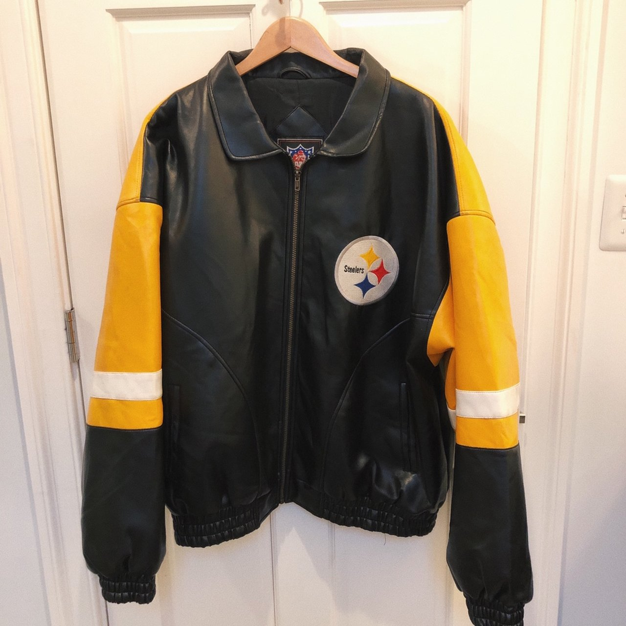 check out 5e0de 3af88 Pittsburgh Steelers Synthetic Leather Jacket. Size  XL. As - Depop