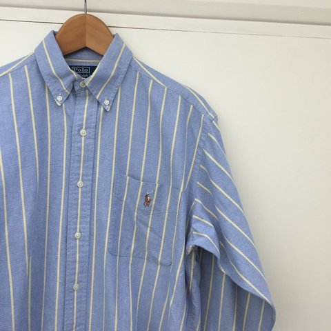 ad623db00 Ralph Lauren blue with yellow stripes long sleeve shirt. is - Depop