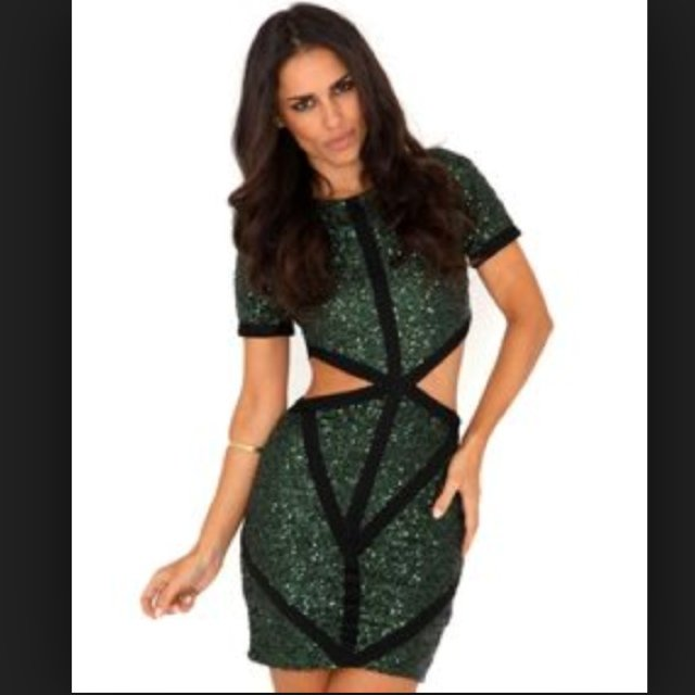4c0d438f Missguided Cut-Out Green Sequin Mini Dress. Size 8. Only - Depop