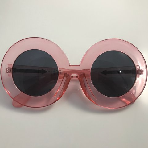 740ed9f92b1 Clear pink oversized round glasses. 60s inspired Brand - Depop
