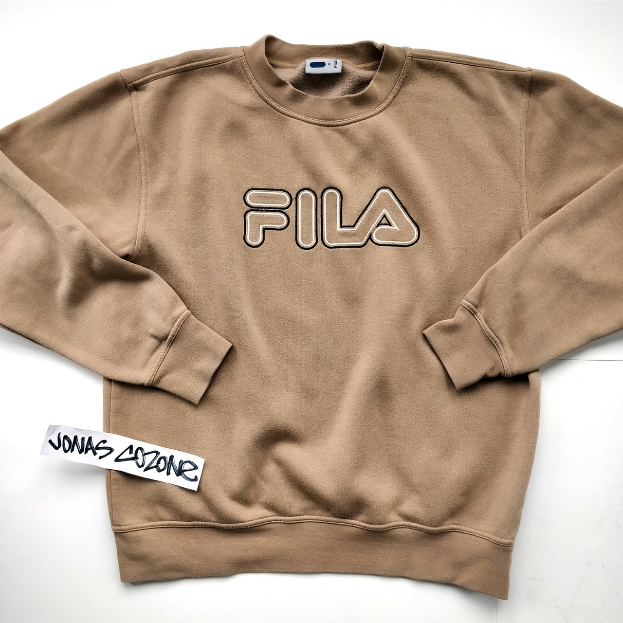 Vintage beige FILA sweatshirt. Worn but very good... - Depop