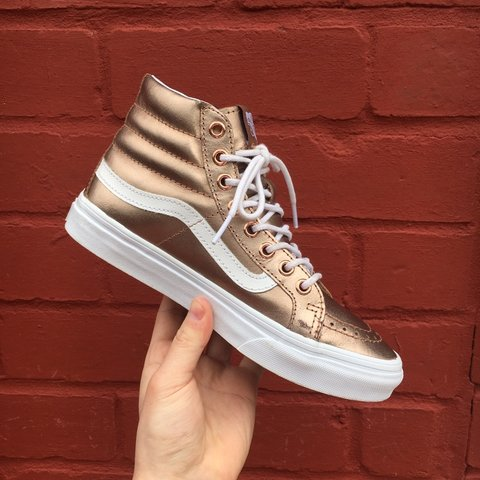 05a6205a6c Women s Vans Sk8-Hi Metallic Rose Gold 🏅 Women s size UK a - Depop