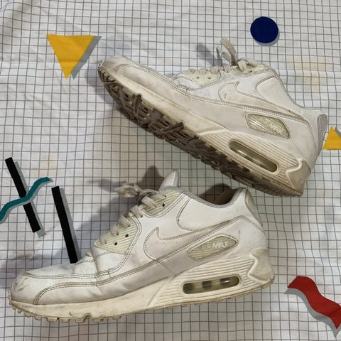 a0b7c93b14467 White Nike Air Max 90 Size 9.5 in women s - Size 8 in men s - Depop