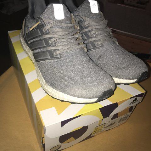 56a24294d672c Adidas ultra boost 3.0 grey with leather cage Condition EU - Depop