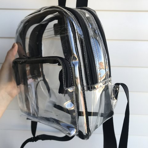 Urban Outfitters Clear backpack with black detailing⭐ Super - Depop 53f0458fd649