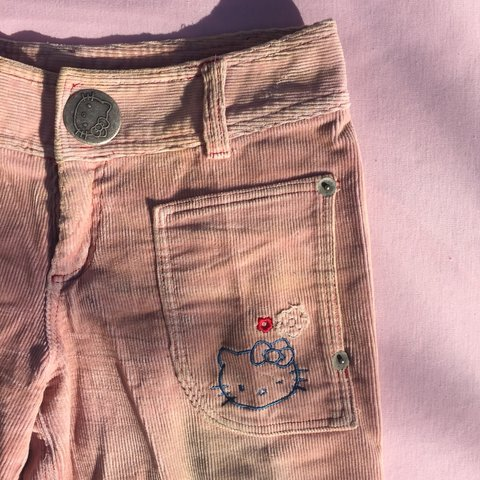 838244751 Hello Kitty pale pink corduroy 3/4 pants from the early - on - Depop