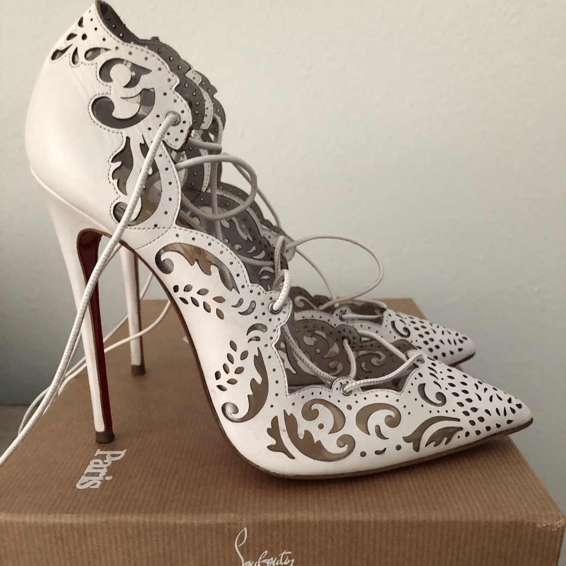 newest 73d67 bf5df Christian Louboutin Impera 120 white size 36. Comes... - Depop