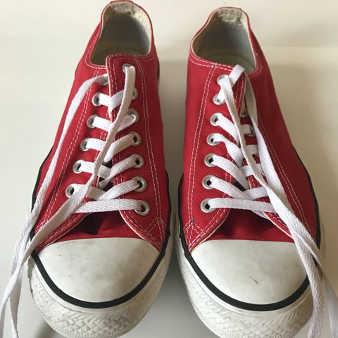 eec320d592a1 RED CONVERSE LOW TOP SNEAKERS SIZE 9. For sale is a pair of - Depop