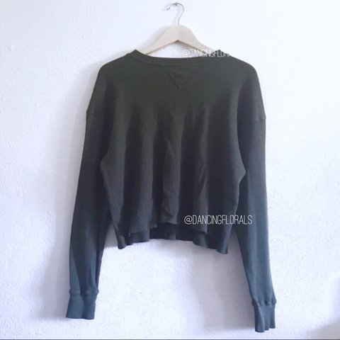 029681e9 @dancingflowers. last year. United States. Brandy Melville Laila dark olive  thermal sweater. Long sleeve waffle printed ...