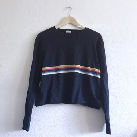 ccdb46d49c @dancingflowers. 11 months ago. United States. Brandy Melville Acacia Navy  Rainbow Stripe Sweater Soft cotton long sleeve top ...