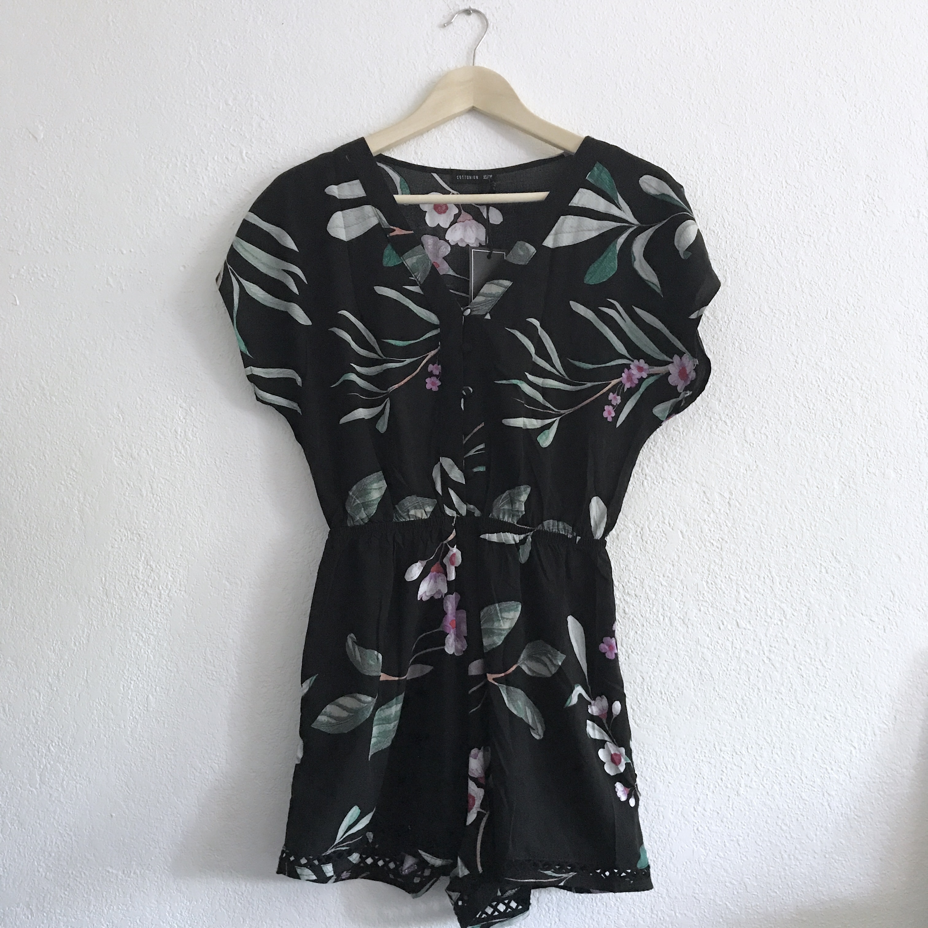 100% top quality highly praised detailed look Cotton On black floral romper jumpsuit | New with... - Depop