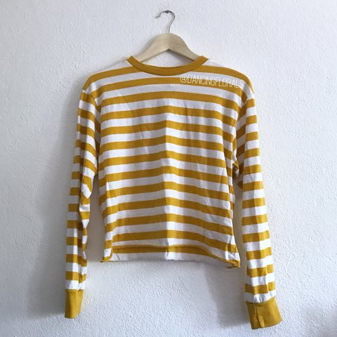 36148b7f3f @dancingflowers. 9 months ago. United States. Brandy Melville Deep yellow  mustard and white striped Acacia long sleeve top