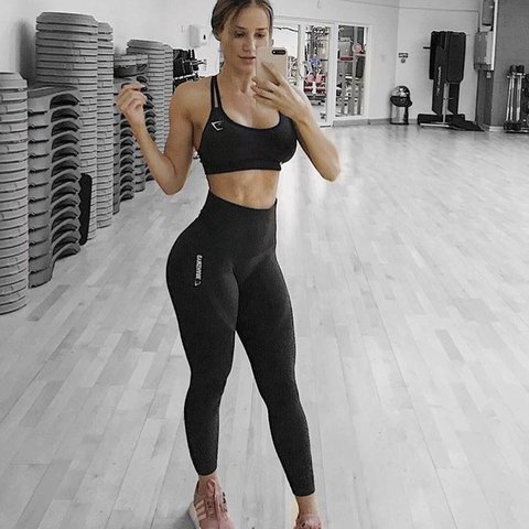 5618fc183a818 @belladring. last year. Plymouth, United Kingdom. Gymshark seamless black  marl high waisted leggings size small