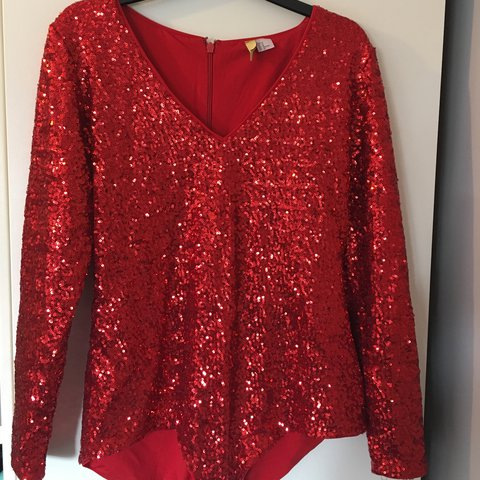 Red sequin body suit  leotard with long sleeves and a soft M - Depop 098beab4b