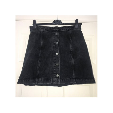 782f5baa2ba Black denim button a line mini skirt size 28 topshop river - Depop