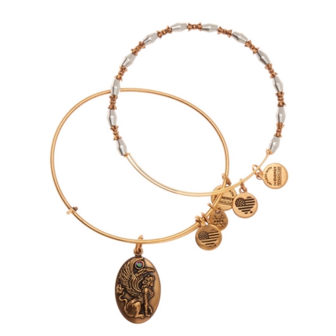 Nwt Alex And Ani Sphinx Charm Expandable Wire Bangle